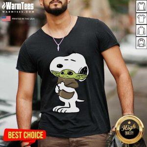 Snoopy Hug Baby Yoda V-neck - Design By Warmtees.com