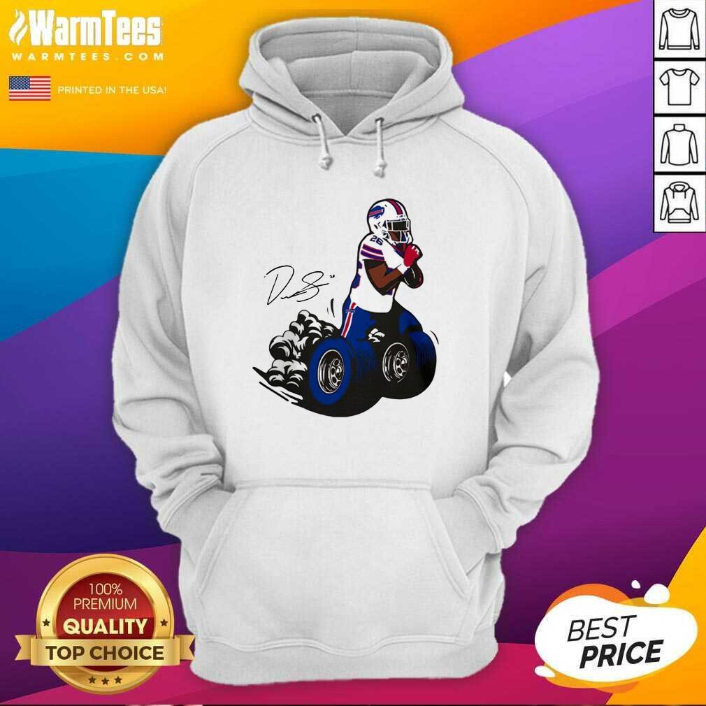 Buffalo Bills Fan Box Devin Singletary Motor Signature Hoodie  - Design By Warmtees.com