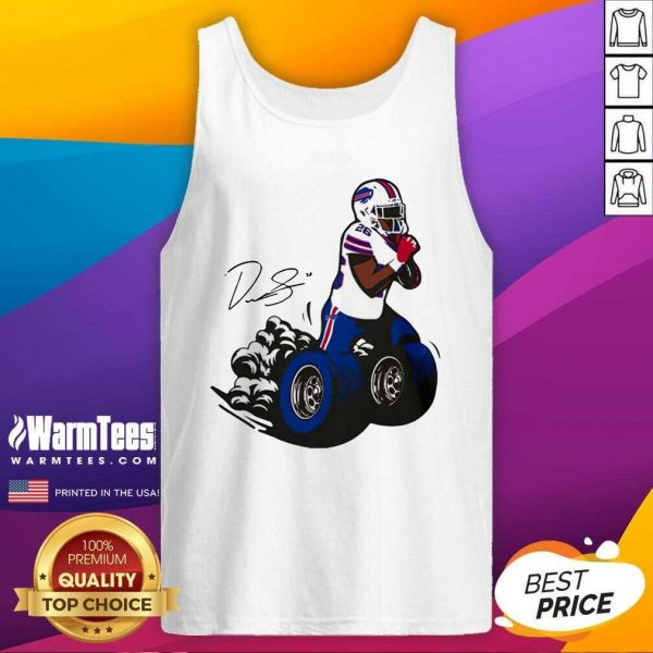 Buffalo Bills Fan Box Devin Singletary Motor Signature Tank Top - Design By Warmtees.com