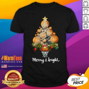 Good Volleyball Merry And Bright Christmas Tree Shirt - Design By Warmtees.com