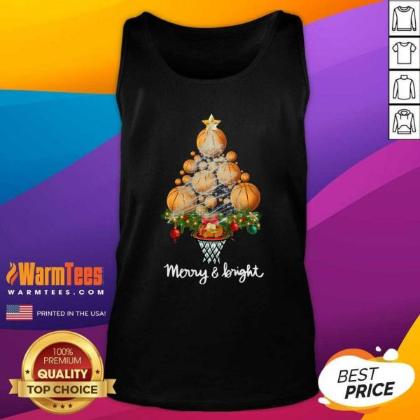 Good Volleyball Merry And Bright Christmas Tree Tank Top - Design By Warmtees.com