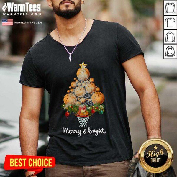 Good Volleyball Merry And Bright Christmas Tree V-neck - Design By Warmtees.com