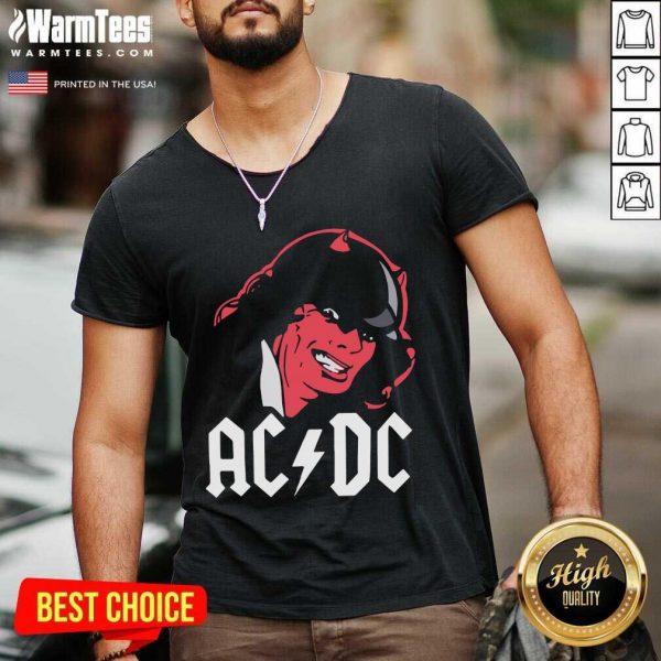 Rock Band Red Ac Dc V-neck - Design By Warmtees.com
