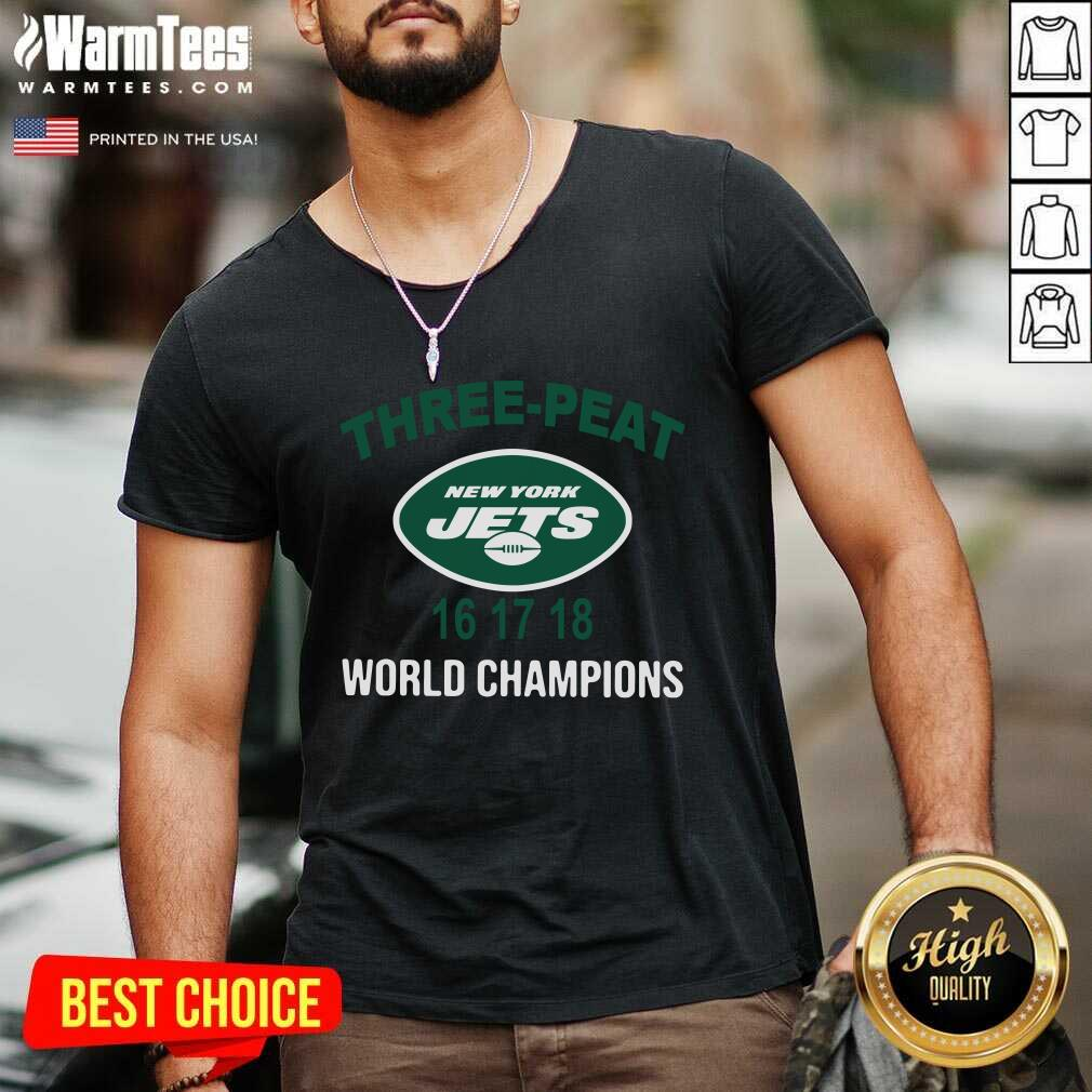 Three Peat New York Jets 16 17 18 World Champions V-neck  - Design By Warmtees.com