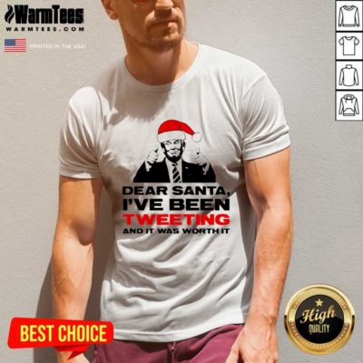 Trump Dear Santa I've Been Tweeting And It Was Worth It Ugly Christmas V-neck - Design By Warmtees.com