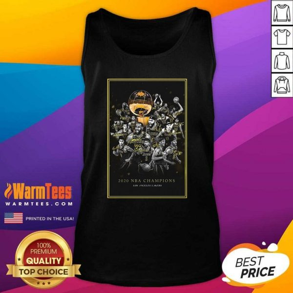 2020 Nba Champions Los Angeles Lakers Team Signatures Tank Top - Design By Warmtees.com