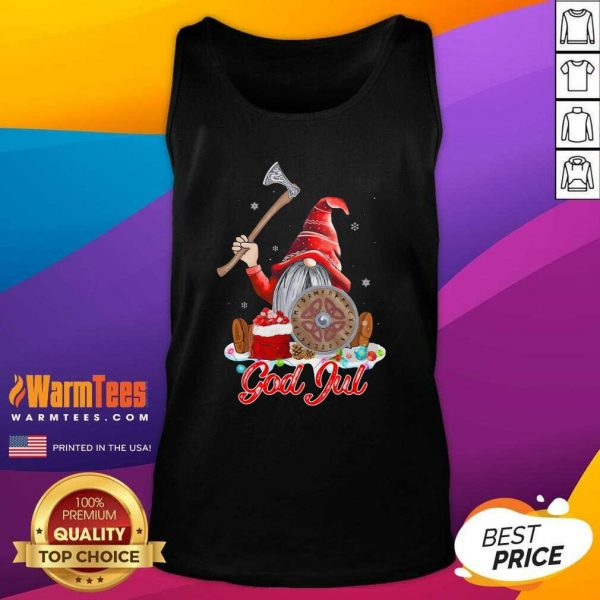 Gnome Viking Glaedelig Jul Christmas Tank Top - Design By Warmtees.com
