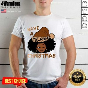 Have A Melanin Christmas Charming Woman Black Hair Shirt - Design By Warmtees.com