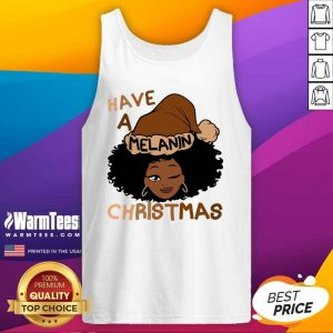 Have A Melanin Christmas Charming Woman Black Hair Tank Top - Design By Warmtees.com