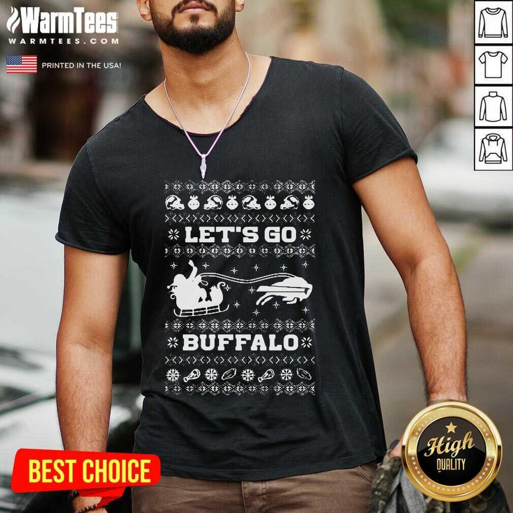 Let Go Buffalo Bills Ugly Christmas V-neck  - Design By Warmtees.com