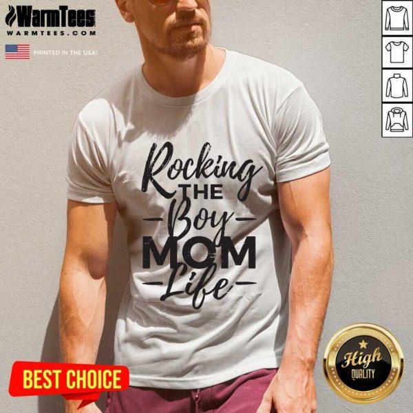 Rocking The Boy Mom Life V-neck - Design By Warmtees.com