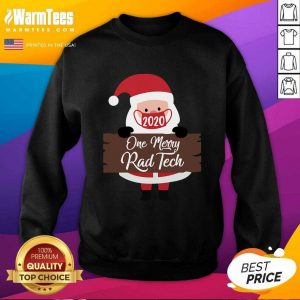 Santa Claus Face Mask 2020 One Merry Registered Nurse Christmas SweatShirt - Design By Warmtees.com