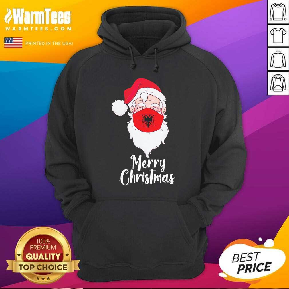 Santa Claus Face Mask Albania Flag Merry Christmas Hoodie - Design By Warmtees.com