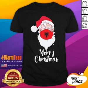 Santa Claus Face Mask Albania Flag Merry Christmas Shirt - Design By Warmtees.com
