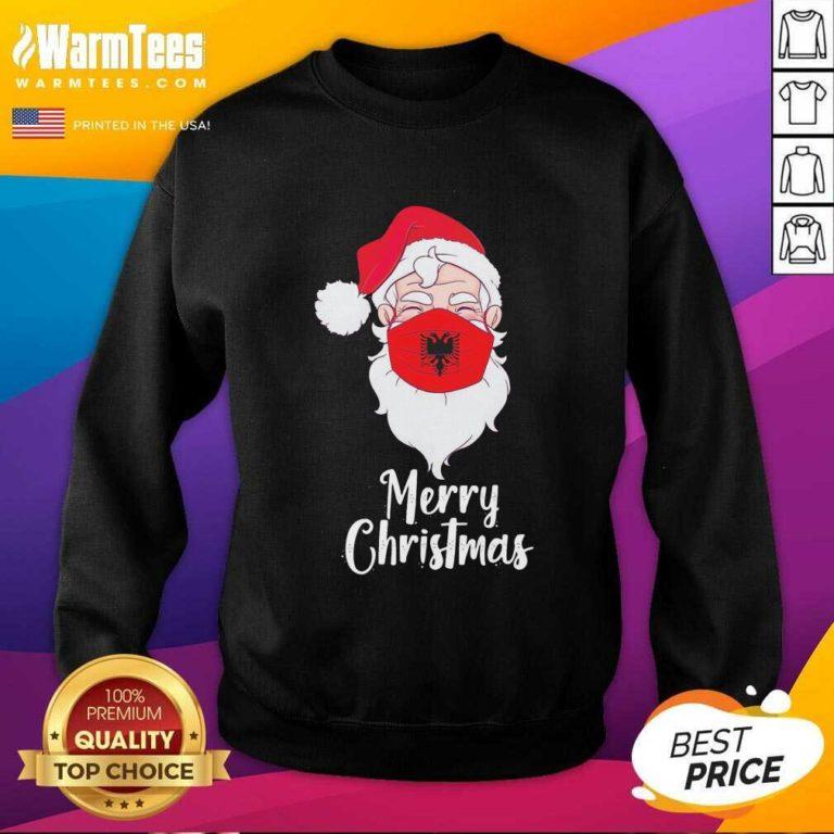 Santa Claus Face Mask Albania Flag Merry Christmas SweatShirt - Design By Warmtees.com