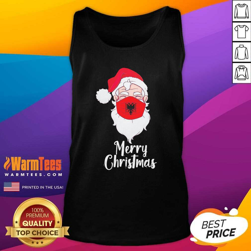 Santa Claus Face Mask Albania Flag Merry Christmas Tank Top - Design By Warmtees.com