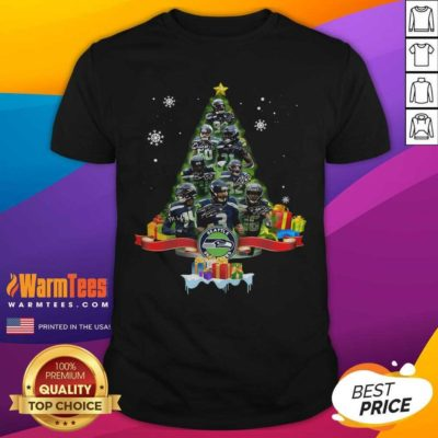 Seattle Seahawks Player Signatures Christmas Tree Shirt - Design By Warmtees.com