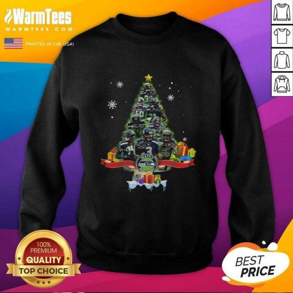 Seattle Seahawks Player Signatures Christmas Tree SweatShirt - Design By Warmtees.com