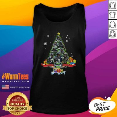 Seattle Seahawks Player Signatures Christmas Tree Tank Top - Design By Warmtees.com