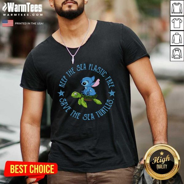 Stitch On The Turtle Keep The Sea Plastic Free Save The Sea Turtles V-neck - Design By Warmtees.com