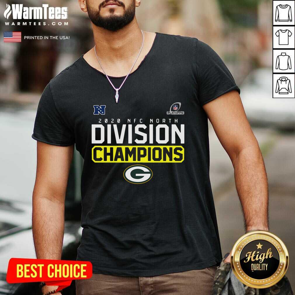 Green Packer 2020 Nfc North Champions Playoff V-neck  - Design By Warmtees.com