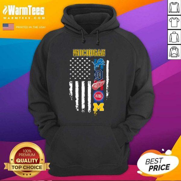 Michigan Detroit Lions Detroit Red Wings Detroit Pistons American Flag Hoodie - Design By Warmtees.com