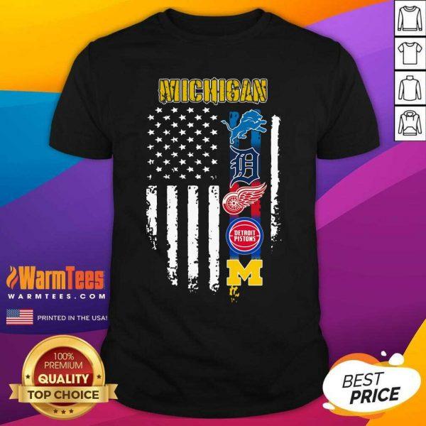 Michigan Detroit Lions Detroit Red Wings Detroit Pistons American Flag Shirt - Design By Warmtees.com