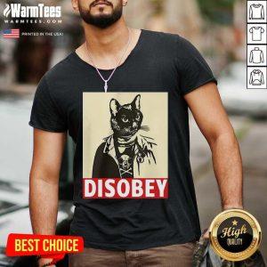 Radical Cat Disobey V-neck - Design By Warmtees.com