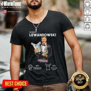 Robert Lewandowski Golden Ball UEFA Champions 2019 2020 Signature V-neck - Design By Warmtees.com
