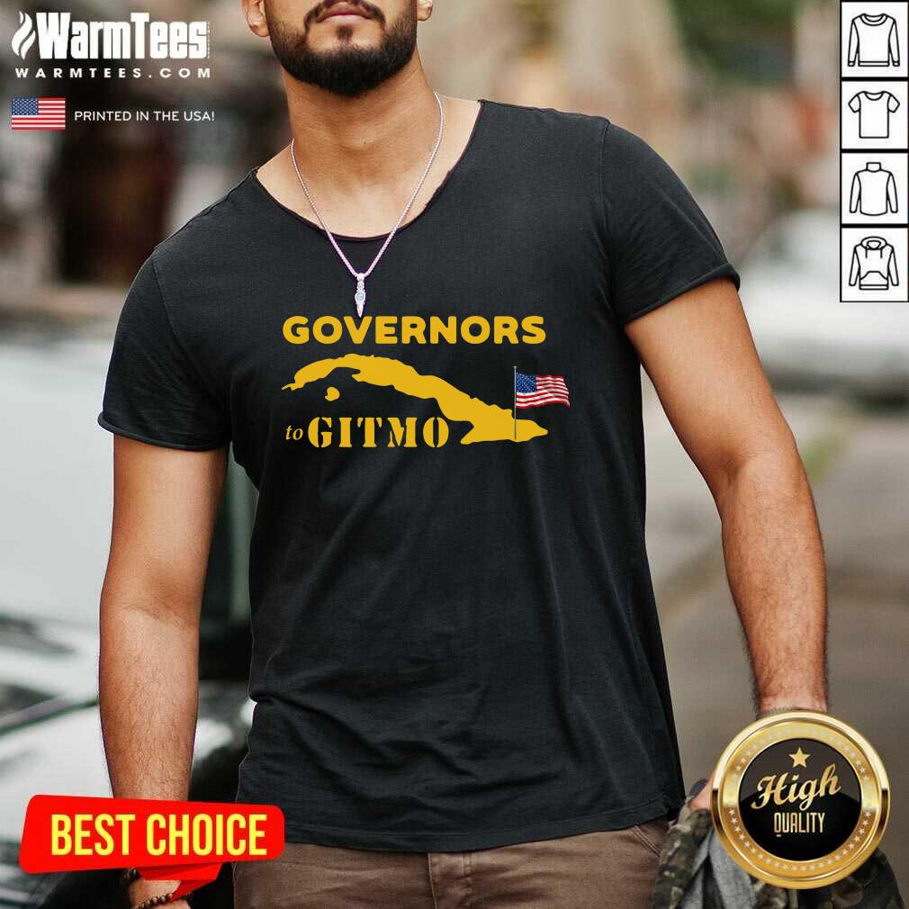 Governors To Gitmo American Flag V-neck  - Design By Warmtees.com