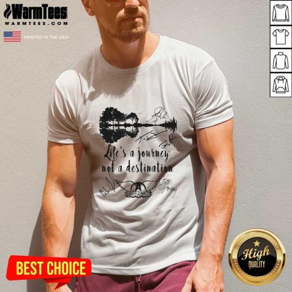 Life Is A Journey Not A Destination Aerosmith All Member Signature V-neck - Design By Warmtees.com