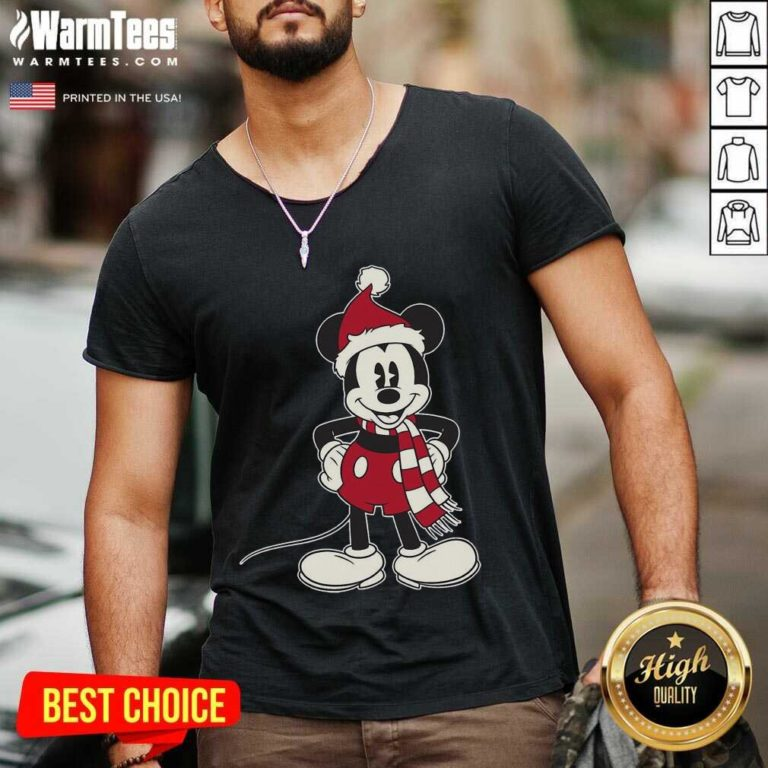 Mickey Mouse Santa Hat Merry Christmas V-neck - Design By Warmtees.com