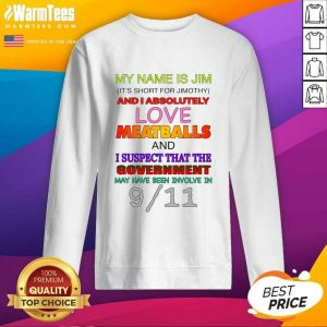 My Name Is Jim It's Short For Jimothy And I Absolutely Love Meatballs SweatShirt - Design By Warmtees.com
