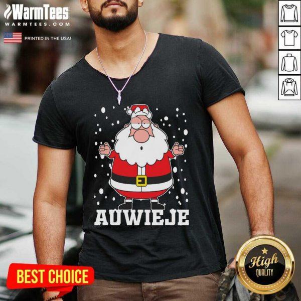 Santa Claus Auwieje Merry Christmas V-neck - Design By Warmtees.com