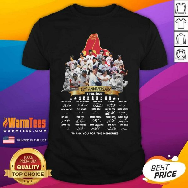 The Boston Red Sox 112nd Anniversary 1902 2020 Thank You For The Memories Signatures Shirt - Design By Warmtees.com