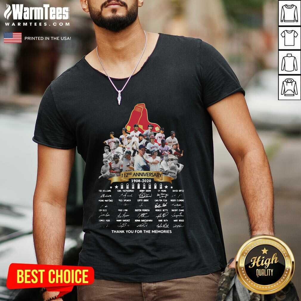The Boston Red Sox 112nd Anniversary 1902 2020 Thank You For The Memories Signatures V-neck  - Design By Warmtees.com