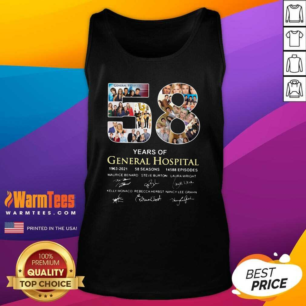 58 Years Of General Hospital 1963 2021 58 Seasons 14588 Episodes Signatures Tank Top  - Design By Warmtees.com