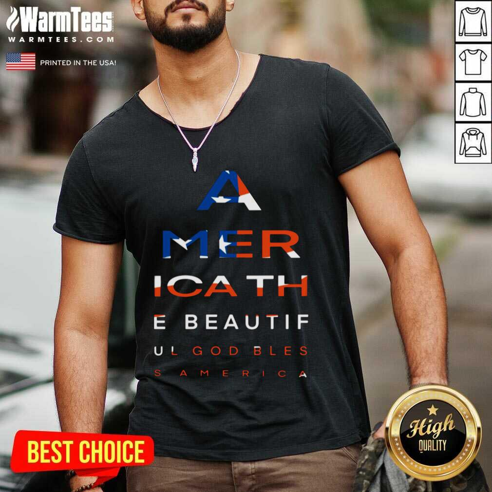 America The Beautiful God Blesa American Flag V-neck  - Design By Warmtees.com