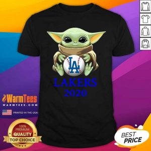Baby Yoda Hug Los Angeles Lakers 2020 Shirt - Design By Warmtees.com