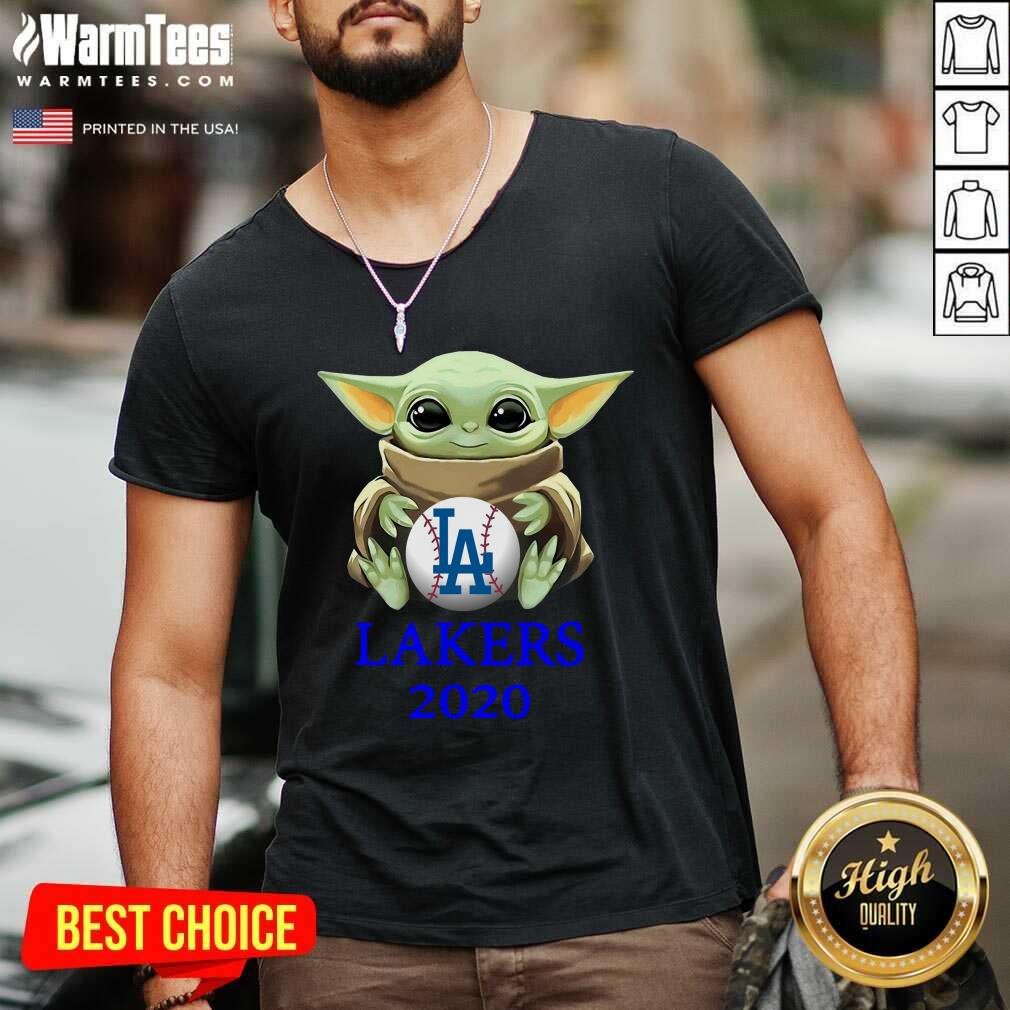 Baby Yoda Hug Los Angeles Lakers 2020 V-neck  - Design By Warmtees.com