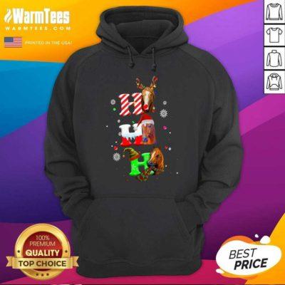 Ho Ho Ho Horses Santa Elf Reindeer Merry Christmas Light Hoodie - Design By Warmtees.com