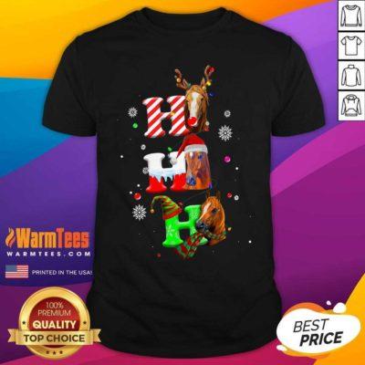 Ho Ho Ho Horses Santa Elf Reindeer Merry Christmas Light Shirt - Design By Warmtees.com