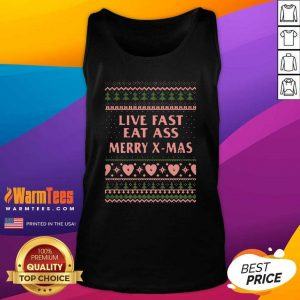 Live Fast Eat Ass Merry X-mas Ugly Christmas Tank Top - Design By Warmtees.com