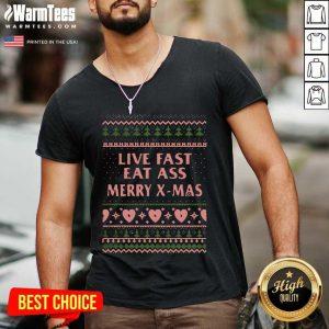 Live Fast Eat Ass Merry X-mas Ugly Christmas V-neck - Design By Warmtees.com