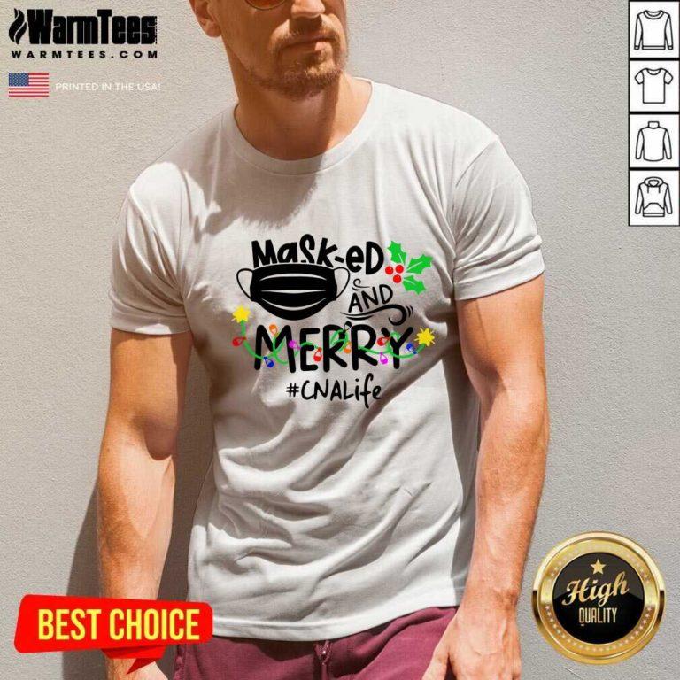 Mask-ed And Merry Christmas Cna Life V-neck - Design By Warmtees.com