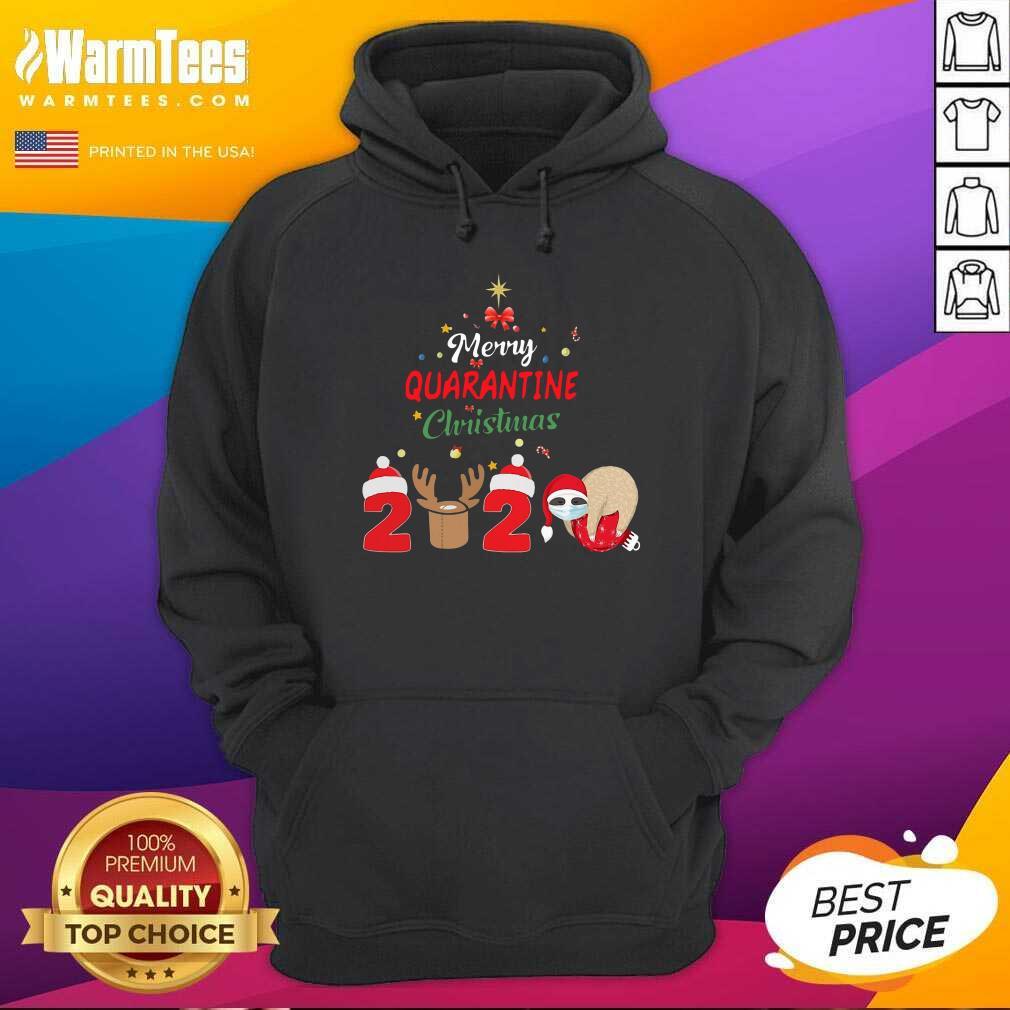 Merry Quarantine Christmas 2020 Sloth Hat Santa Christmas Hoodie  - Design By Warmtees.com