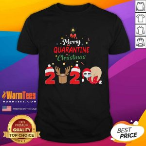 Merry Quarantine Christmas 2020 Sloth Hat Santa Christmas Shirt - Design By Warmtees.com