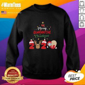 Merry Quarantine Christmas 2020 Sloth Hat Santa Christmas SweatShirt - Design By Warmtees.com