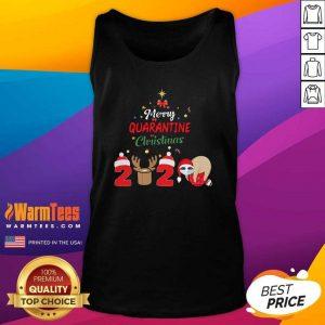 Merry Quarantine Christmas 2020 Sloth Hat Santa Christmas Tank Top - Design By Warmtees.com