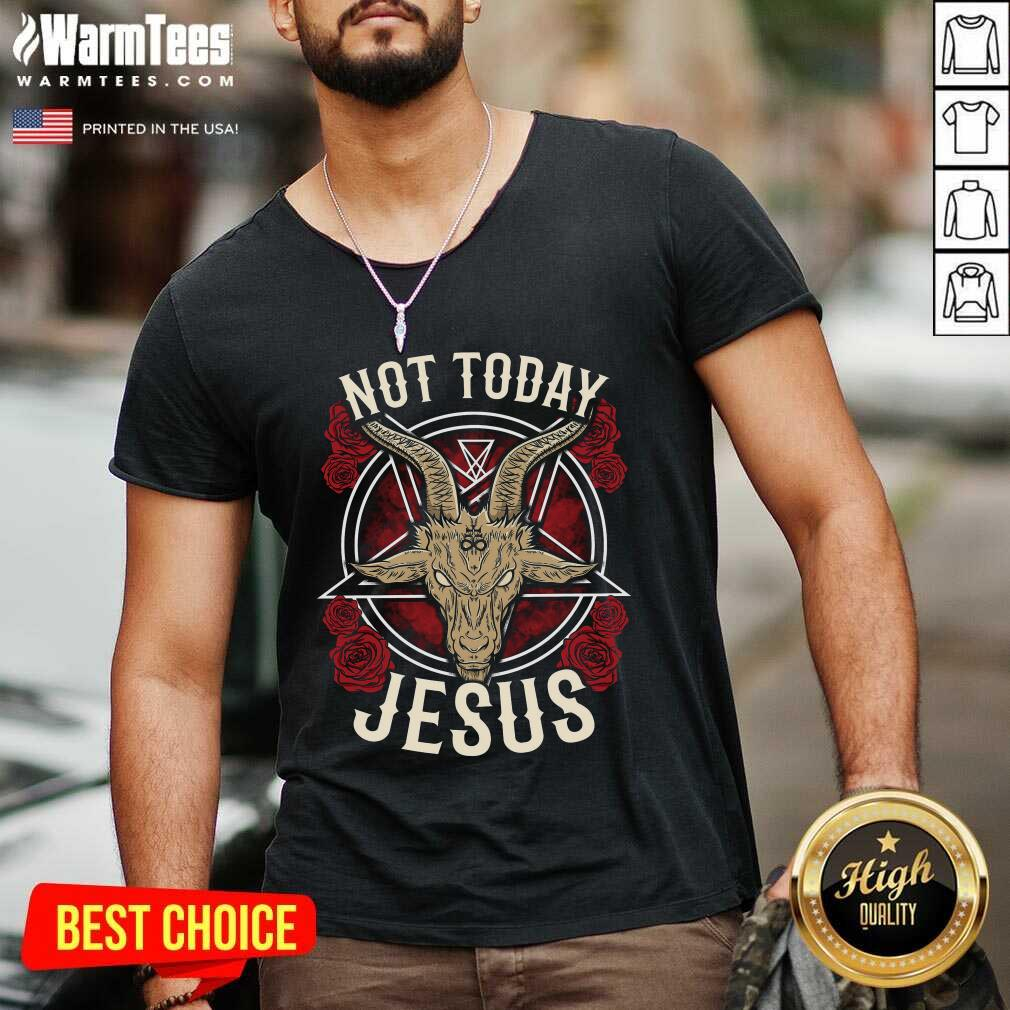 Not Today Jesus Gift For A Satanic Atheist V-neck  - Design By Warmtees.com